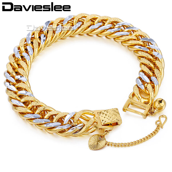Silver and Gold 11 mm Bracelet, Cuban Hammered Curb Double Chain heavy Bracelet for Men and Boys