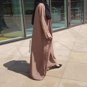 Plain Camel Loose Abaya with Zip