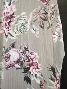 Frilled Floral Grey Cover-Up