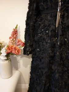 3D Black Roses Open Abaya with White Lining