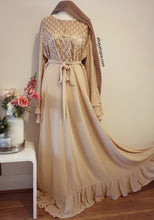 Gold Diamond Sequins Dress with Tiered Bell Sleeves - Nude