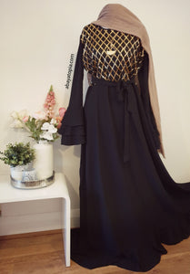 Gold Diamond Sequins Dress with Tiered Bell Sleeves - Black