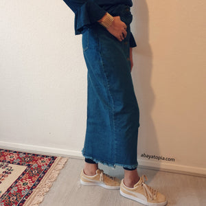 Denim Slim-Cut Skirt