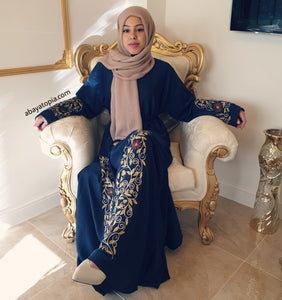 Safiyyah Swirl Blue Closed Abaya