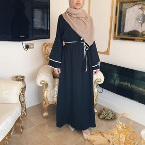 Bell Sleeves and White Piping Closed Abaya - Diff Colours