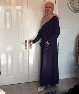 Pearly Pockets Abaya with Elasticated Waist