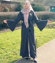 Linear Open Abaya - Black