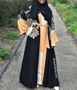 Zayna Black and Bronze Abaya