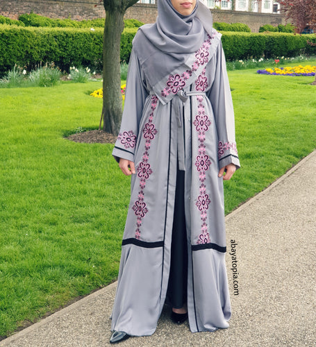 Grey Embroidered Abaya