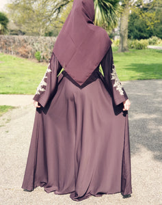 Shadiya Chocolate Brown Closed Lace Abaya