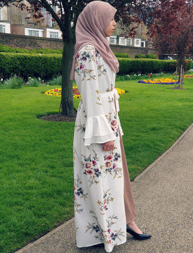 Floral Open Abaya - Black or White