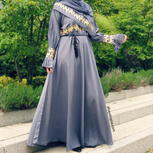 Saara Steel Blue Closed Abaya