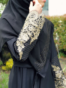 Gabriella Gold Lace Closed Abaya