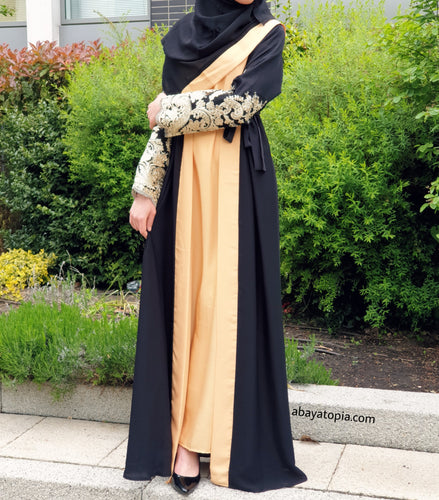 Sunset Gold Lace 2-in-1 Double Abaya Full Set