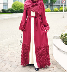 Tassly Deep Red Abaya Set