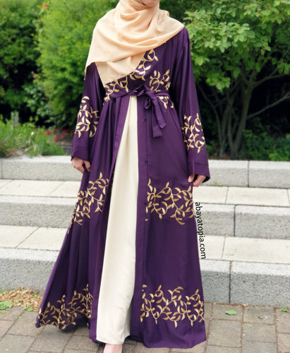 Deep Purple Embroidered Abaya Set