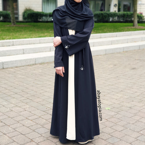 Gem Stone Detail Black Open Abaya