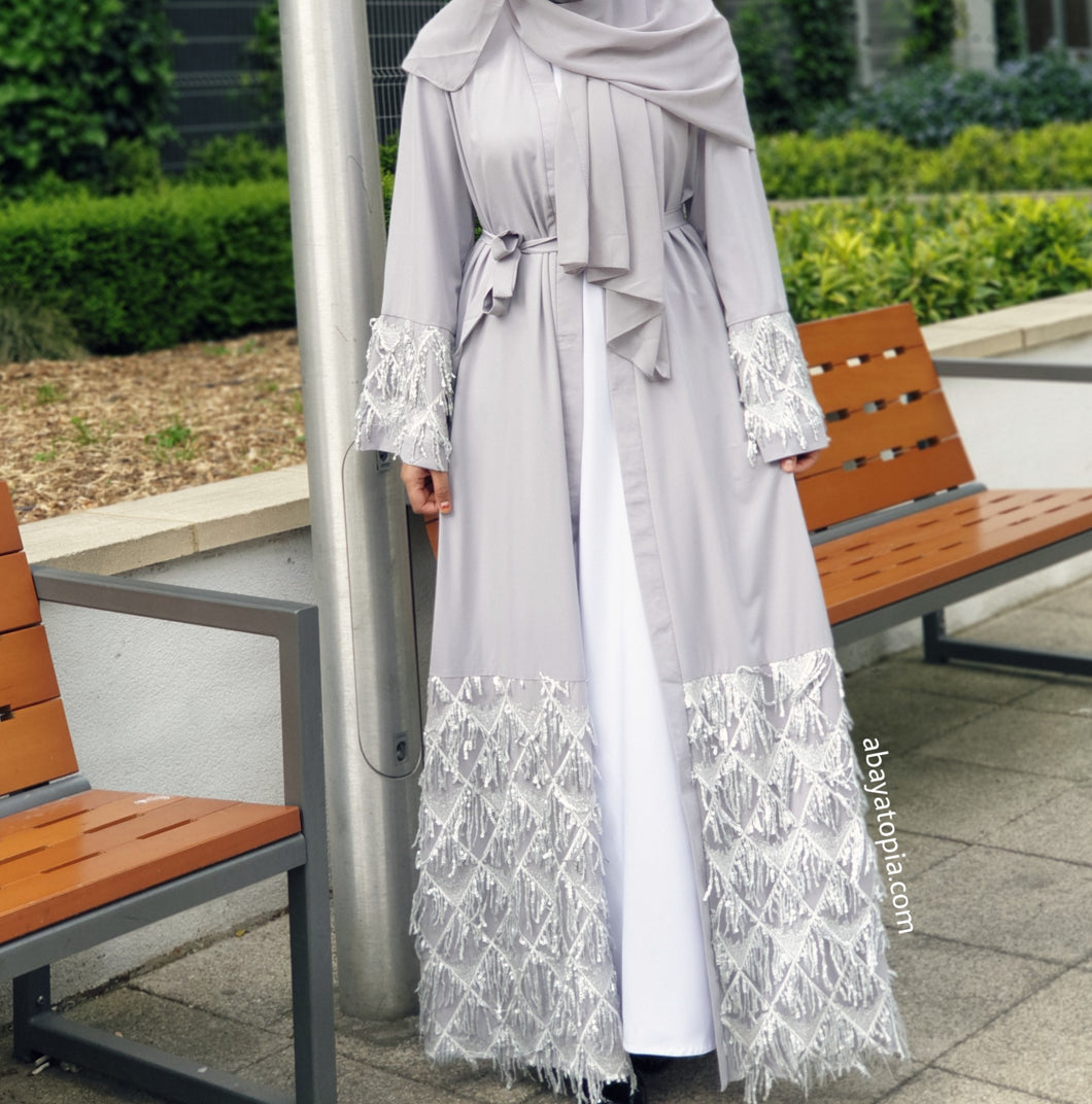 Diamond Sequins Abaya Set - Ice Grey