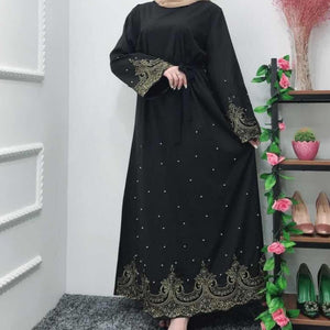Amira Closed Bronze Lace Abaya with Pearls - Black