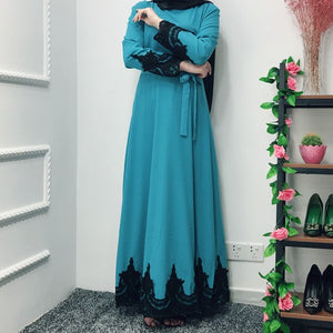 Amira Closed Black Lace Abaya - Teal