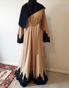 Amira Closed Black Lace Abaya - Sand