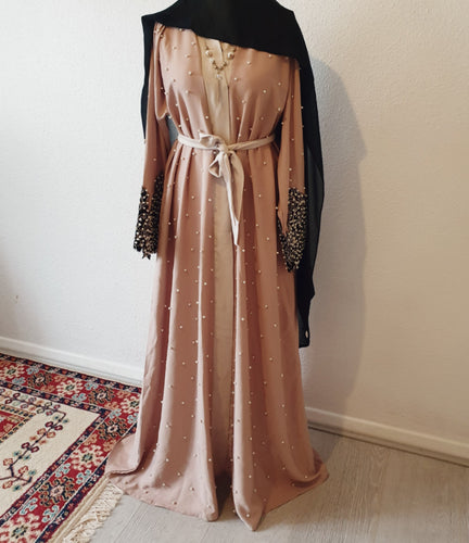 Lulu Cream Abaya with Black Cuffs