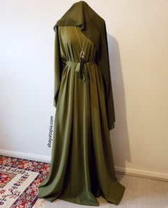 Flared Zip and Pockets Closed Abaya Full Set - Olive Green
