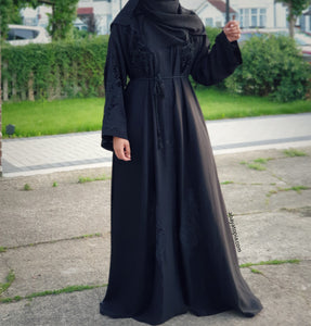 Black Velvet Motifs with Black Stones Open Abaya