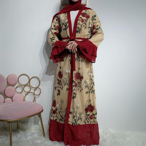 Gardenia Camel and Maroon Open Abaya