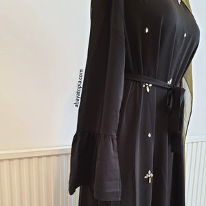 Frilled Gem Stone Detail Closed Abaya Dress - Black