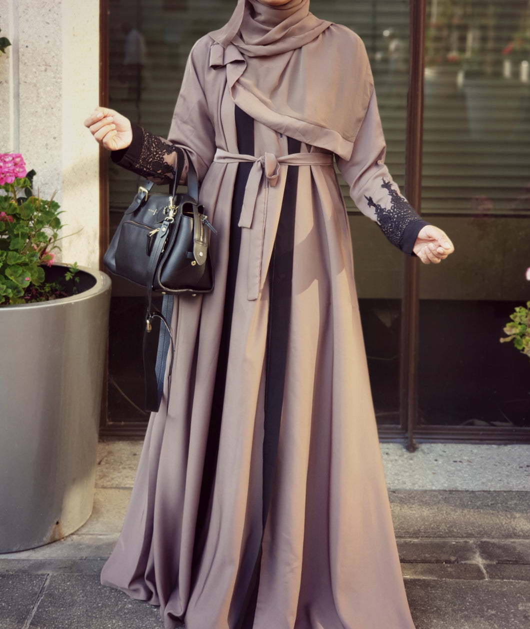 Taupe Black Lace 2-in-1 Double Abaya - Full Set