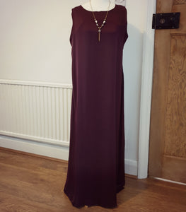 Plain Deep Aubergine Sleeveless Inner Dress