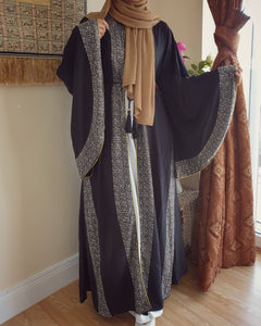 Exaggerated Bell Sleeves with Rhinestones Open Abaya - Black