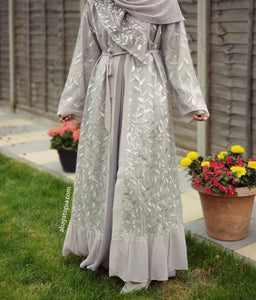 Silver Grey Leaves Kimono with Matching Hijab