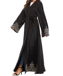 Amira Open Bronze Lace Abaya with Pearls - Black