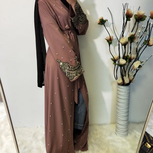 Amira Open Bronze Lace Abaya with Pearls - Mauve