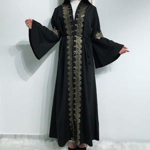Kahal Open Gold Lace Bell Sleeved Black Abaya