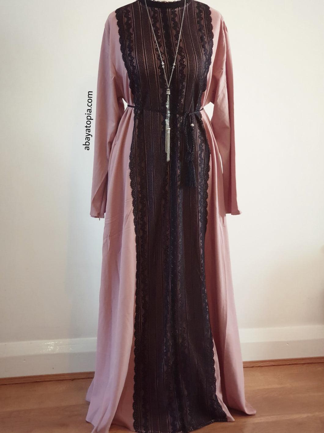 Dusky Mauve Closed Abaya Dress with Black Lace