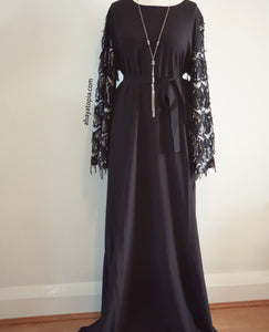 Sequinned Sleeve Closed Abaya Black Dress