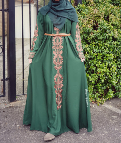 Faariha Forest Green Flared Closed Abaya
