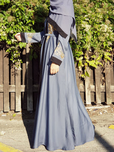 Steel Blue Embroidered 2-in-1 Double Abaya - Full Set
