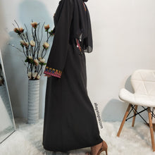 Colourful Embroidered Black Open Abaya