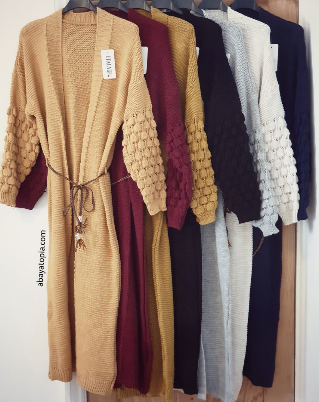 Long Knit Cardigan with Belt - Diff Colours