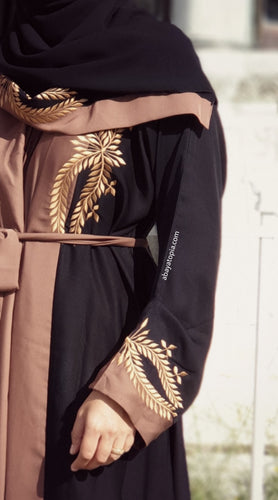 Black and Brown Embroidered 2-in-1 Double Abaya - Full Set