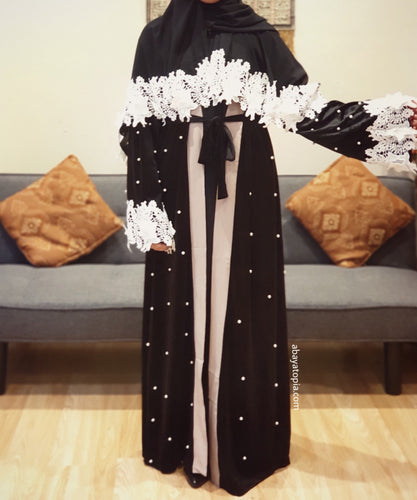 Velvet Queen White Lace Open Abaya with Matching Hijab