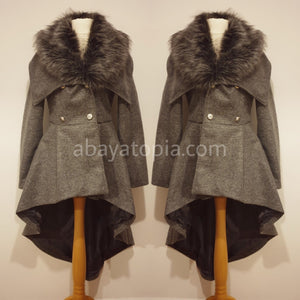 Hi-Lo Double Breasted Warm Coat - Grey
