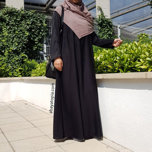 Plain Black Loose Abaya with Zip
