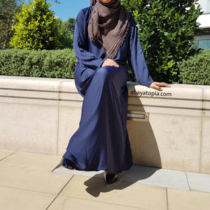 Plain Navy Loose Abaya with Zip