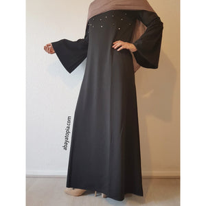 Bell Sleeve and Pearls Black Dress