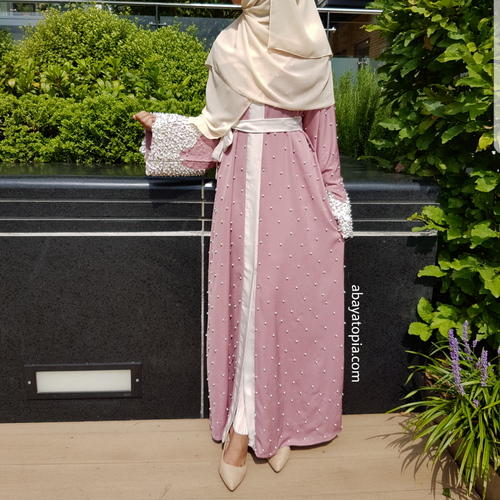 Lulu Pink and Cream Abaya